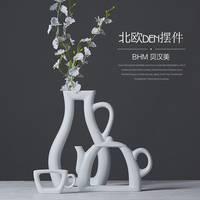 A Set White Pot Shape Cheap Jingdezhen Modern Porcelain Vase for Home Decor