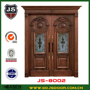 Wholesale exterior door: China Natural Exterior Double Swing Rustic Iron Art Metal Roman Colunm HDF Engineered Composite Door