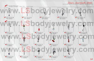 Wholesale acrylic body jewelry: Spiral Barbell with Dangle, Liplet Dangle