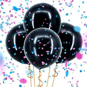 Wholesale balloon: Boomwow 36inch Latex Printed He or She Gender Reveal Black Balloon