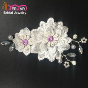 Wholesale embroidery: Wedding Bridal Hair Combs Women Hair Jewelry Fashion Embroidery Flower Headpiece New Silver Headwear