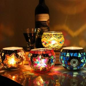 Wholesale candles holders: Spherical Glass Mosaic Cracked Candlestick European Dinner Candle Holders