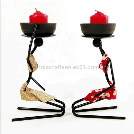 African Woman Decoration Iron Crafts Home Metal Candle Holders Decorative