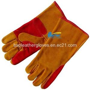 Wholesale kevlar glove: Deluxe Kevlar Sewn Cow Split Leather Welding Work Gloves