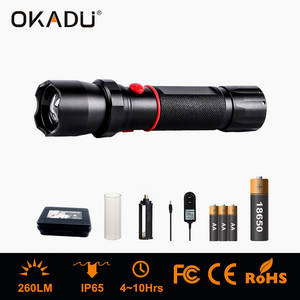 Wholesale led police baton: OKADU ZQ03C Cree Q5 LED Safty Police Torch with DC Charging Hole LED Zoom Police Flashlight