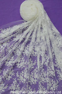 Wholesale embroidery fabric: Ivory Embroidery Lace Fabric for Wedding Dress