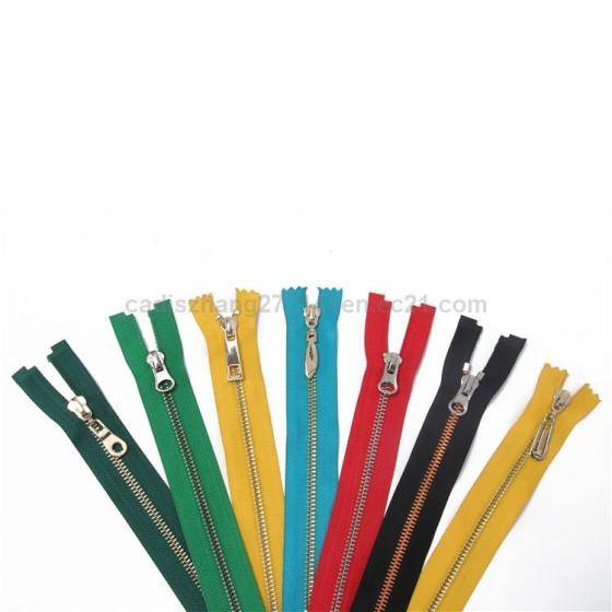 Sell 5#close end metal zipper with spring locking metal sliders for garments