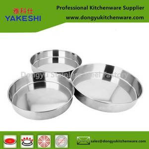 Wholesale cake plate: 3pcs Stainless Steel Cake Plate Set Baking Tray