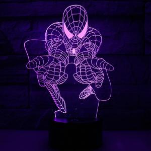 Wholesale 3d lamp base: 3D Optical Illusion Night Light 7 LED Color Changing Lamp Spider Man