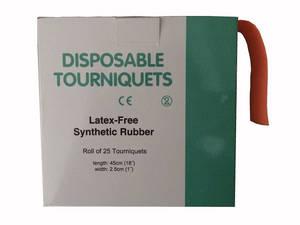 Wholesale paper core: Disposable Tourniquet, Latex Free, Orange, Dot Texture with Paper Core, 1''X18'' X 25pcs