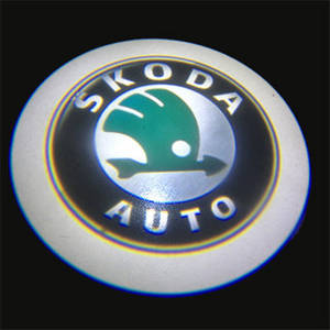 Wholesale logo light: SKODA LOGO Car LED Emblem Welcome Light Door Step Ground Projecting Lamp