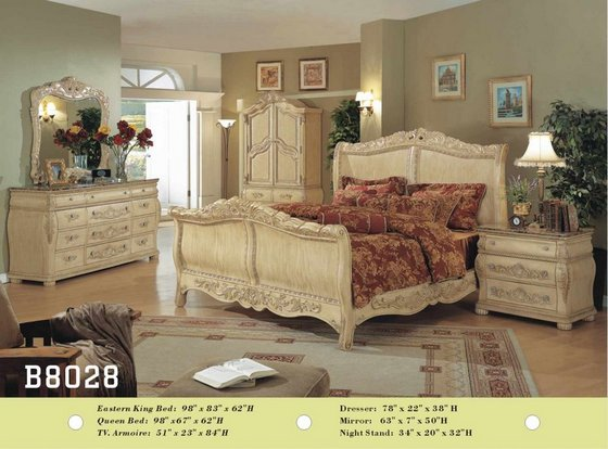 B8028 Solid Wood Bedroom Set Beige Image