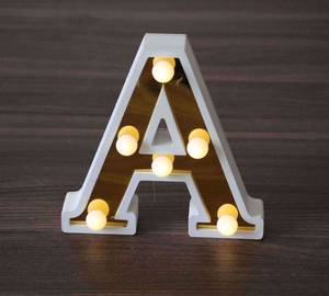 Wholesale led sign letter: Festival Christmas Decoration Mini Wooden LED Sign Letters Lights for Wedding Decoration Crafts