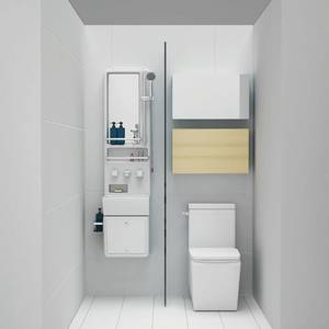 All In One Bathroom Shower Panel With Wash Basin Mirror