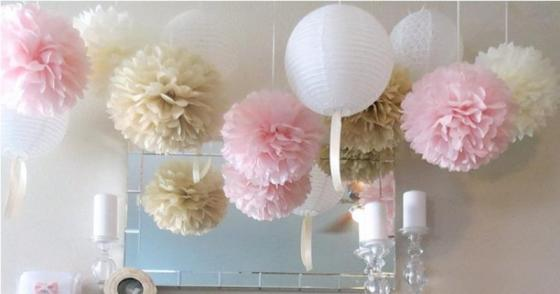 Sell hot party event decoration set tissue paper pom poms