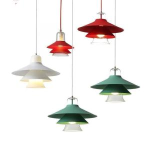 Wholesale glass pendant light: Colorful Modern Metal Glass Multilayer Pendant Light for Home