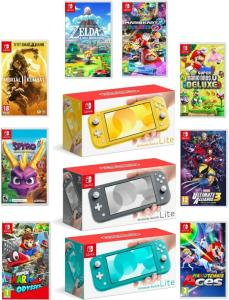 Wholesale video game consoles: Brand New N_intendo Switch Lite 32GB Handheld Video Game Console with Choice of Game Bundle