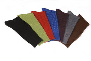 Wholesale Socks & Stockings: Men's Wool/Cashmere Blend Textured Cable Socks