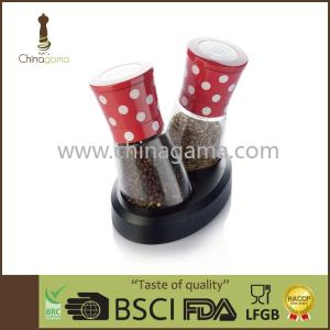 Wholesale fda lfgb approved: Aluminum Cap Ceramic Grinder 2 in 1 Spotty Spice Grinder Set with Adjustable Lid