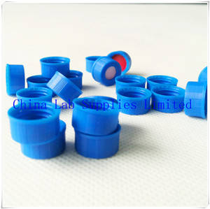 Wholesale screw: 9mm Blue PP Caps with White PTFE/Red Silicone for 2ml HPLC Vials, Screw Thread, Without Middle Hole