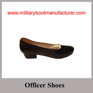 Wholesale ladies shoes: Wholesale China Made Black Full Grain Leather Lady Officer Shoes with Leather Sole