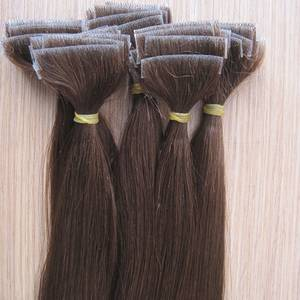 Wholesale hair extension: High Quality Silky Straight Hand Tied 100% Human Hair Skin Weft Hair Extension