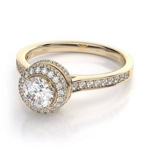 Wholesale Precious Stones: Halo Engagement Ring Martini Diamond 0.25ct Ring in 9k Gold E5972