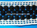 Embroidery Crochet Water Soluble Lace Trim Black Mixed White Double Side Straight