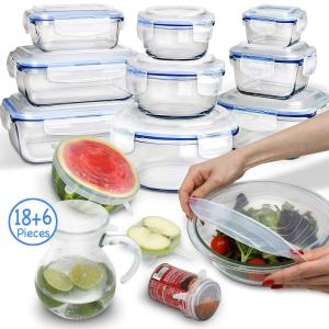 Wholesale kitchen freezer: 9 Piece Glass Food Storage Containers with Lids