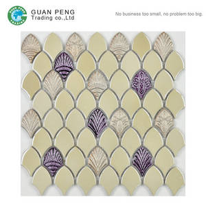 Wholesale Mosaics: Backsplash Tiles Design Fan Shaped Ceramic Black Mosaic Stone Tiles