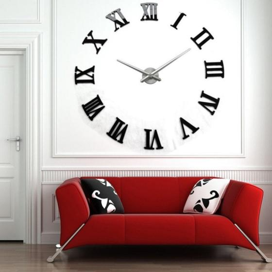 Modern DIY Art 3D Metal Roman Numeral Wall Clock for Home Office Decoration