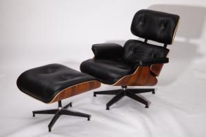 Wholesale leather chair: Yadea PV021-1-D Palisander Black Leather Charles Eames Lounge Chair and Ottoman