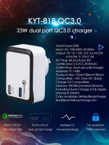 Wholesale usb3.0: 2019 Hot Sell  KC Qualcomm 3.0 23W QC3.0 USB Adapter Travel Charger for Phone
