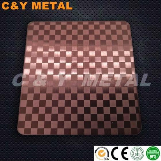 Decorative Stainless Steel Sheet with Hairline,Etching and Red-wine Colors