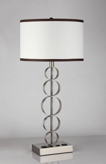 Sell metal table lamp with power outlets and usb ports.