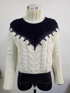 Wholesale lace: Hot Selling Good Quality Ladies Cable Knit Pullover with Lace Manufacture
