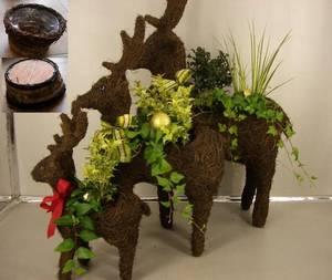 Wholesale flower basket: Reindeer Flower Pot, Planter Pot, Garden Basket