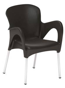 Wholesale high back dining chairs: Comfortable Armrest Dining Chair Wholesale Plasitc Chair with Aluminum Legs