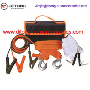 Wholesale carpet: 5pcs Automotive Vehicle Car Emergency Tools Kit with Jumper Cables in Carpet Bag