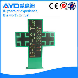 Wholesale pharmacy cross sign: Outdoor  LED Time and Temperature Cross Sign Board