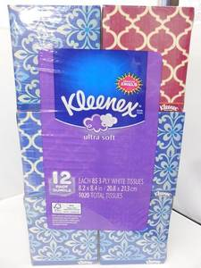 Wholesale everyday necessity: Kleenex Ultra Soft Tissues, White, 120ct, Pack of 8
