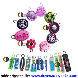 Wholesale shoe: Rubber Zipper Slider and Puller with Logo for Bag Garment Shoe