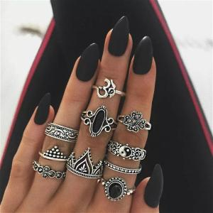Wholesale alloy jewelry: Alloy Vintage Stackable Knuckle Rings Taiji Design