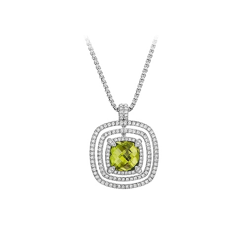 Gold Plated CZ Studded Cushion Cut Pendant