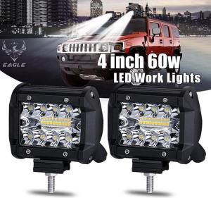 Wholesale atv: 4 Inch 60W LED Work Light Bar Offroad Lamp for Motorcycle ATV UTV SUV Jeep Truck
