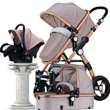 Wholesale baby car seats: 3 in 1 Luxury Foldable Baby Stroller High View Pram Pushchair Bassinet Car Seat