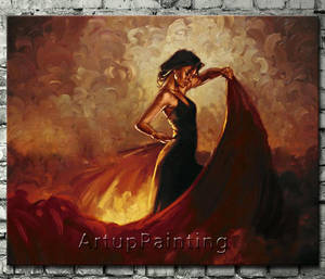 Wholesale handmade oil painting: Spanish Flamenco Dancer Painting Latina Woman Oil Painting On Canvas Hight Quality Hand-painted Pain