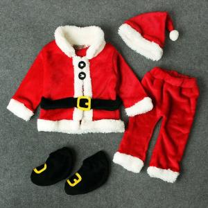 Wholesale shoes: NEW Christmas Baby Boy Girl Clothes Santa Claus Tops+Pants+Hat+Shoes Xmas Outfit