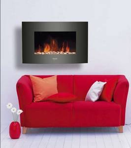 Wholesale Electric Fireplaces: Black Curved Tempered Glass Front Panel Wall Mounted Fire with Pebbles Fuel Effect
