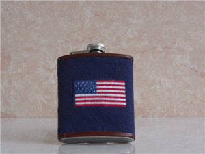 Wholesale Hip Flasks: Needlepoint Stainless Steel Flasks, Wrapped Hip Flasks